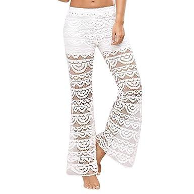 Sunenjoy Femme Pantalon Bouffant Large Dentelle Pantalon Évasé Doux  Confortable Taille Haute Casual Bootcut Legging de 3adac03a45c