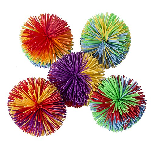Hibery 5 Pack Monkey Stringy Balls, Soft Active Fun Toy, Sensory Fidgets Toys, Stress Balls with Rainbow Pom Ball, Colorful Bouncy Ball / Stress / Sensory Toy]()