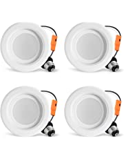 LVWIT 4 Inch LED Downlight Dimmable 9W (65W Replacement) 4000K Neutral White 750 Lumens Retrofit LED Recessed Lighting Fixture ETL-Listed 4 Pack