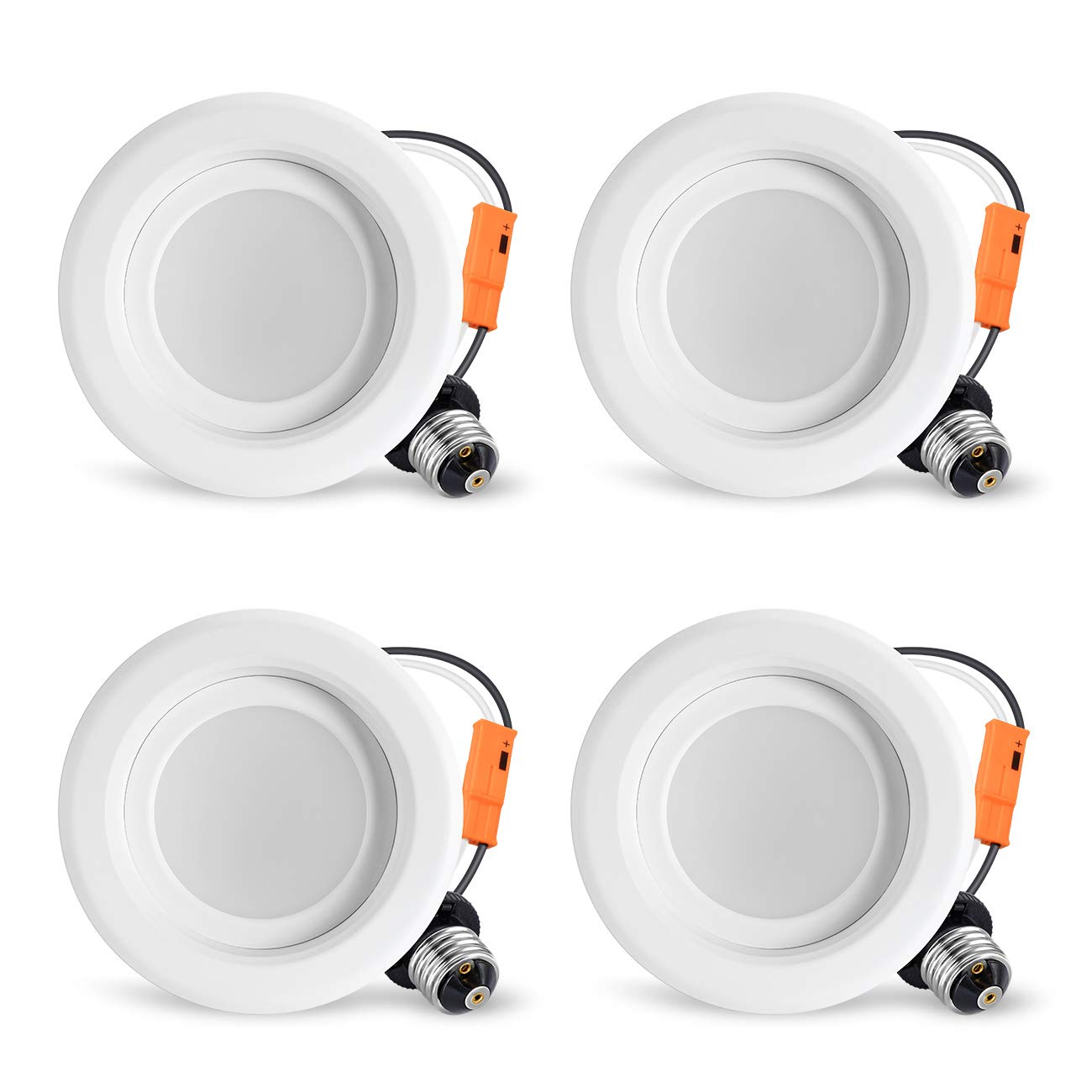 LVWIT LED 4'' Retrofit Dimmable Downlight 5000K Daylight 750 Lumens, Equivalent 65W, 5 Year Warranty(4-Pack)