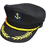 SHINA Chapeau Casquette broderie Marine Marin Capitaine Navire Amiral Adulte