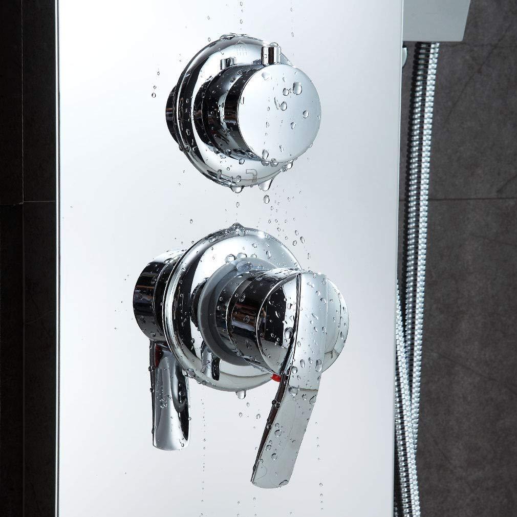 Controllo della temperatura a doppio canale Doccetta termostatica quadrata con doccetta e set di tubi doccia con doccetta di regolazione doppia