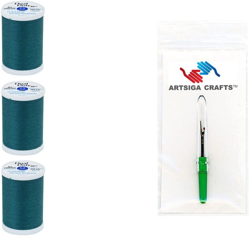 3-Pack Business Gray Bundle with 1 Artsiga Crafts Seam Ripper S910-0360-3P Coats /& Clark Sewing Thread Dual Duty XP General Purpose Poly Thread 250 Yards