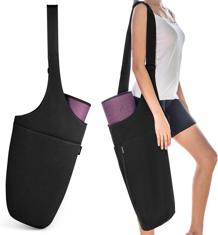 Gonex Yoga Mat Bag, Yoga Mat Carry Bag Tote Sling Carrier for Women with 1 Large Open Pocket & 1 Interior Zipper Pocket Adjustable Shoulder Strap ...
