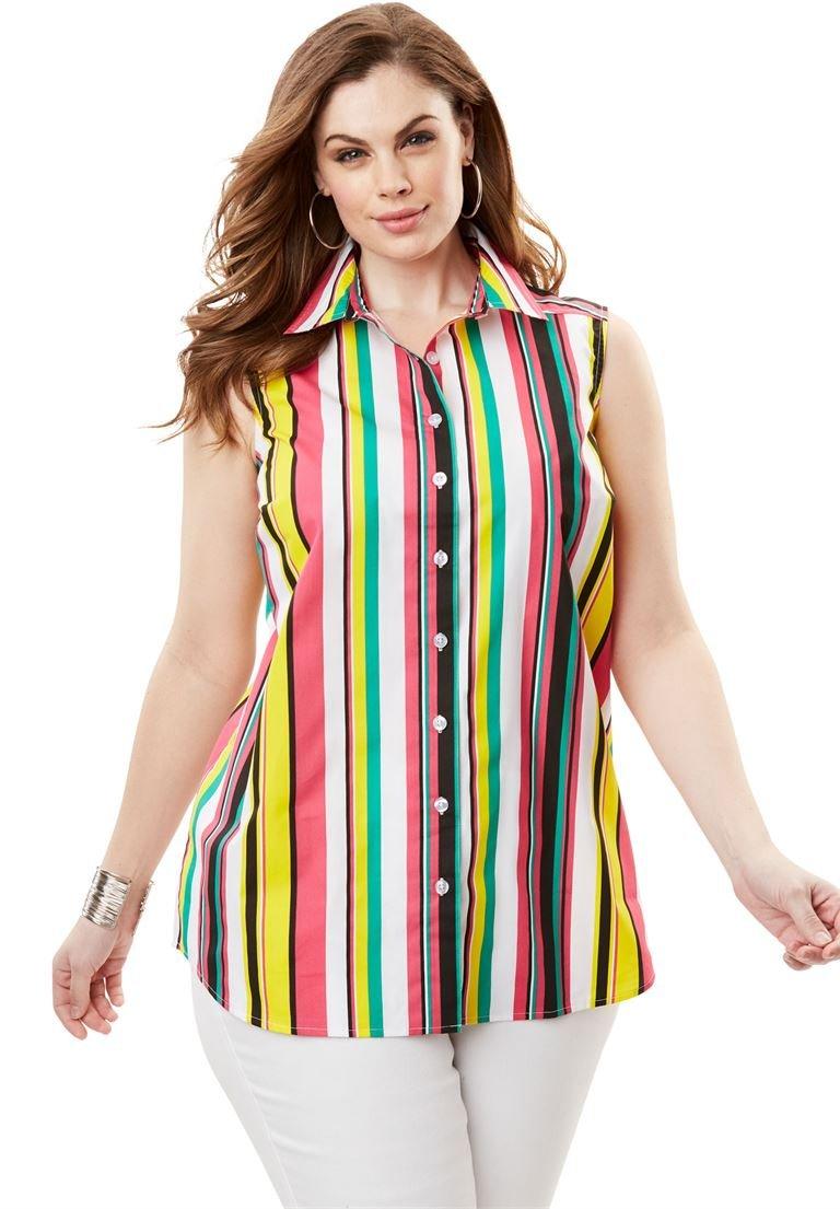 Roamans Women's Plus Size Kate Sleeveless Shirt