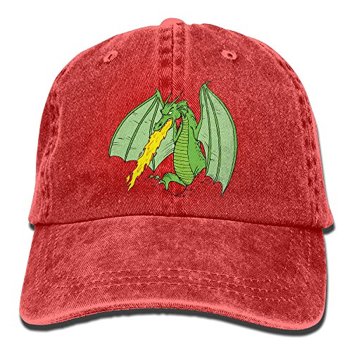 Uanqunan Fire Breathing Dragon Unisex Cotton Denim Baseball Cap Adjustable Strap Low Profile Plain Hats Red