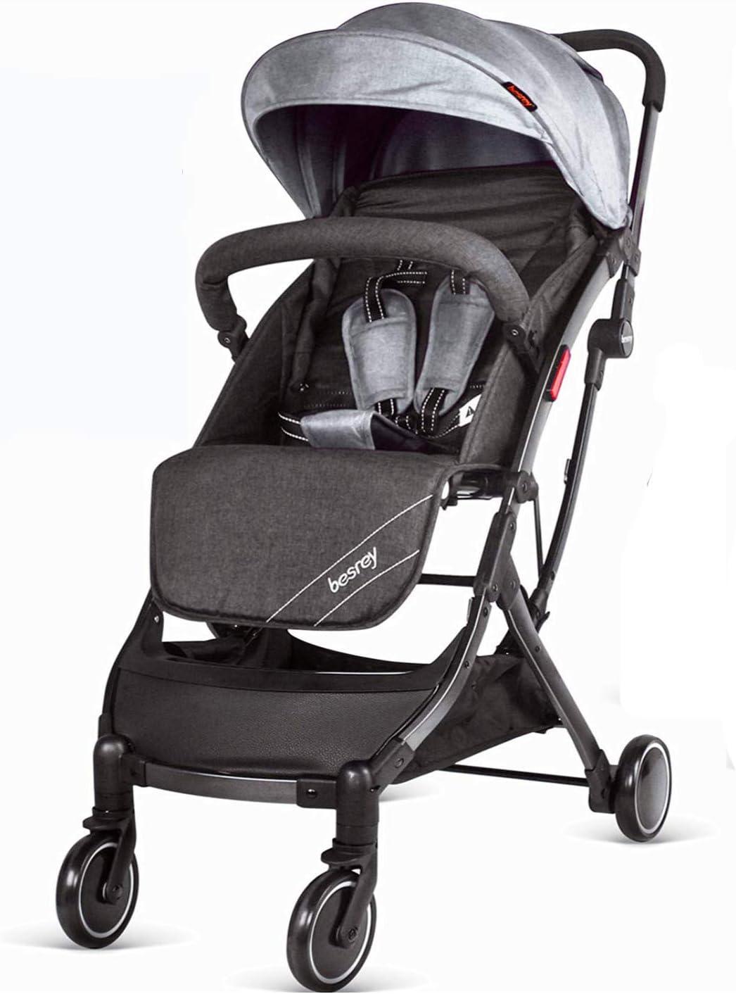 Besrey Cochecito de bebé para bebé recién nacido, 2 en 1, plegable, plegable, plegable