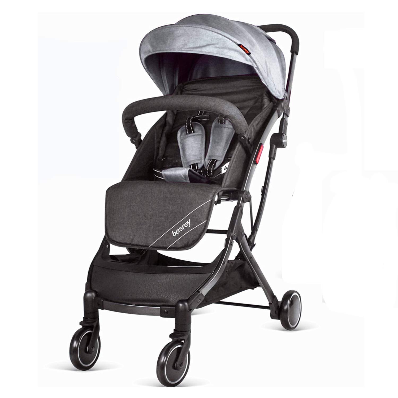besrey Lightweight Stroller Folding Travel Pushchair with Pull Rod, for Newborn Toddler Baby Boy Girl