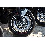 Delhitraderss BAJAJ Dominar 400 Rim/Tire Strips Sticker HYPER Red and White Reflective