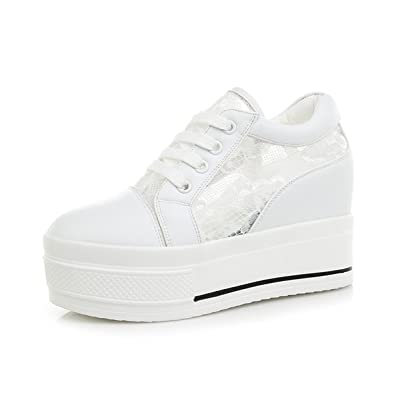 58a254fd62331 Basket Mode Femme Chaussure Sport Respirant Basket Wedge Montante Ajouré  Loisir Antidérapage Confort inusible Blanc 34