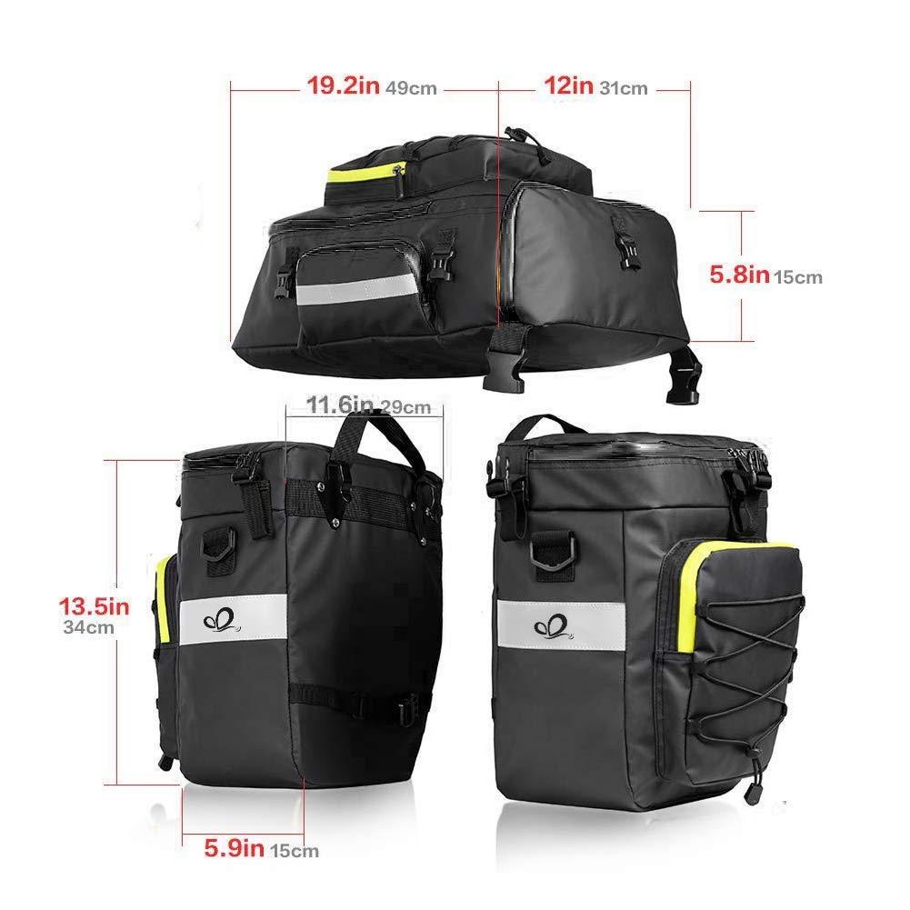 Waterfly Bike Bag Bike Pannier Bag Waterproof Bike Saddle Bag Shoulder Bag with Rain Cover for Riding Cycling (3 in 1) 718VkU7pAaL