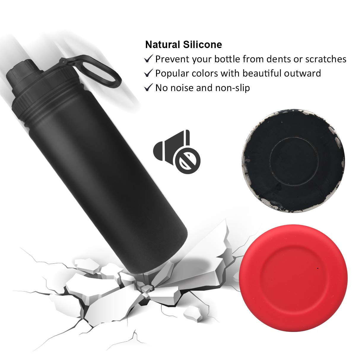 Soft Silicone Anti-Slip Bottom Cover Fits 12-24oz//32-40oz Stainless Steel Water Bottle Sports Travel Pet Bowl CampFENSE Protective Silicone Sleeve Water Bottle Boot