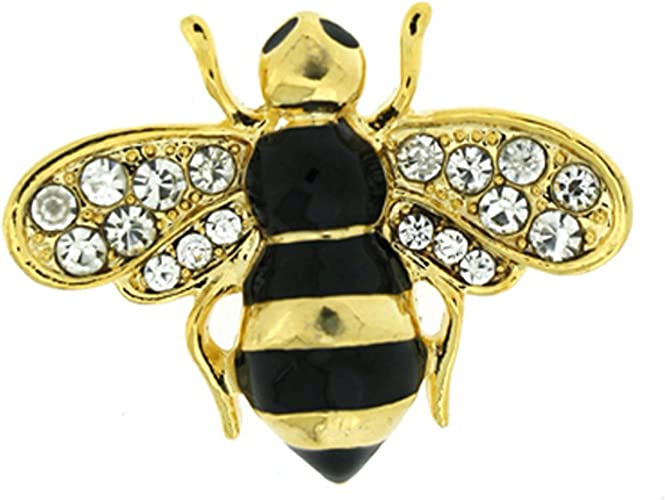 Bee Brooch Manchester Gold//Black Crystal  Bumble Bee Diamante Brooch Broach