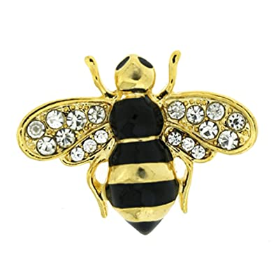 99a842b817 Brooches Store Small Black Enamel Gold   Crystal Bumble Bee Brooch   Brooches Store  Amazon.co.uk  Jewellery