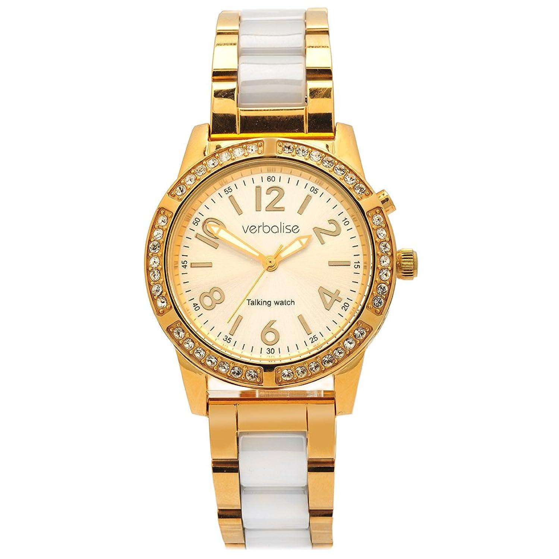 Verbalise Damen Gold Sprechende Armbanduhr mit Swarovski-Kristallen