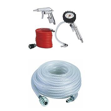 SET Kompressor 4 tlg Druckluftschlauch Ausblaspistole Reifenfüllpistole Schlauch