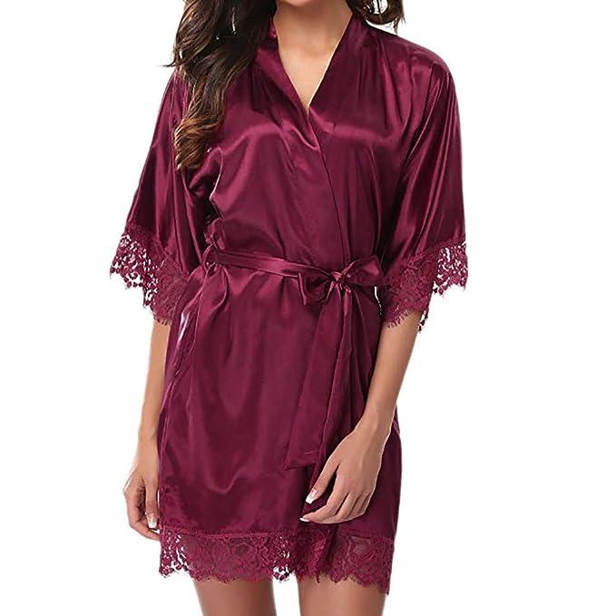 Amazon.com: St.Dona Womens Lace Trim Kimono Robe Nightwear Nightgown Sleepwear Satin Short Robe: Clothing