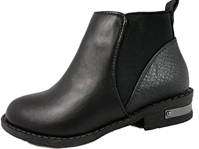 5300fc4a24d Girls Black Chelsea Flat Ankle Boots Buckle Faux Leather: Amazon.co ...