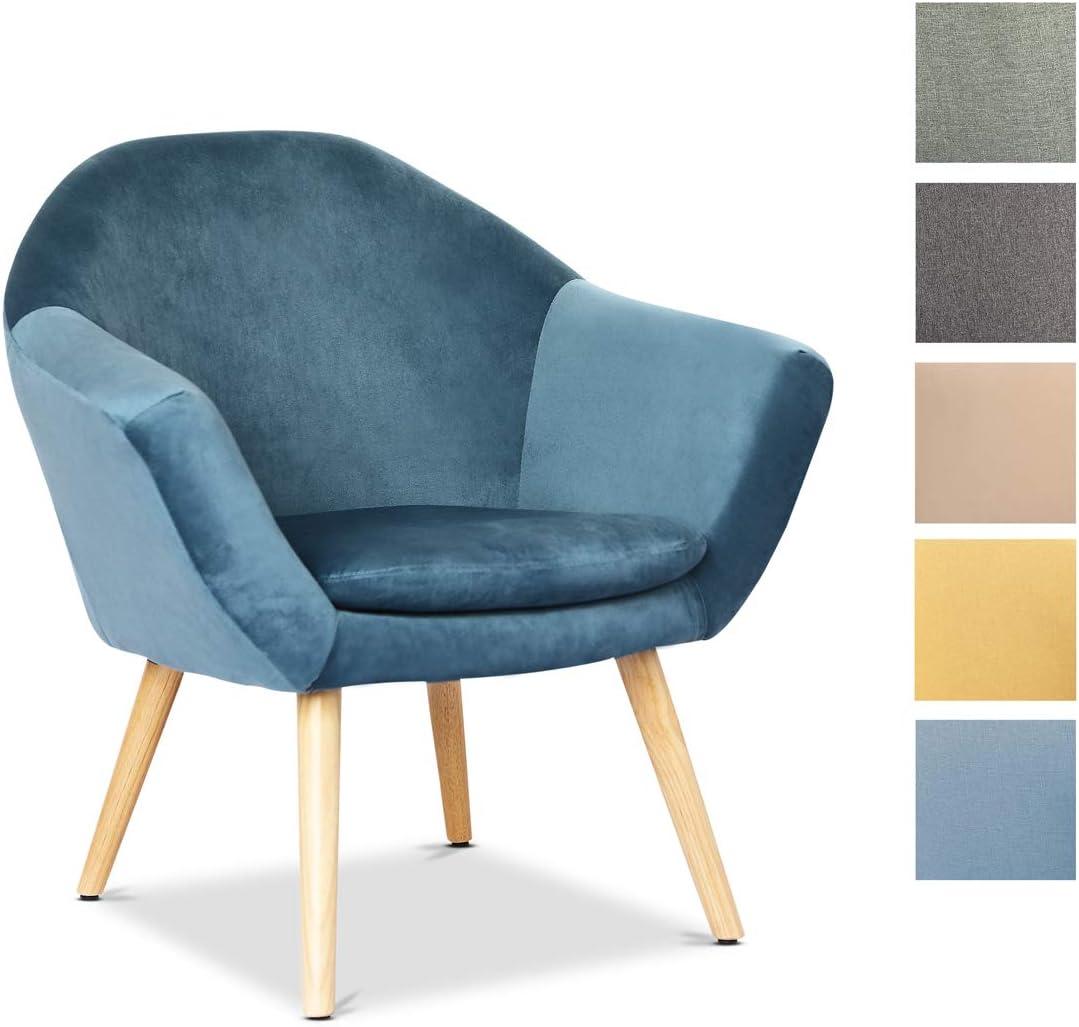 Mc Haus NAVIAN - Sillón Nórdico Escandinavo de color Azul Perla, butaca comedor salón dormitorio, sillón acolchado con Reposabrazaos y patas de madera 74x64x76cm