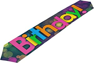 MaMacool Double-Sided Happy Birthday Polyester Table Runner Placemat 13 x 70 inch, Modern Table Top for Office Kitchen Dining Wedding Party Home Decor