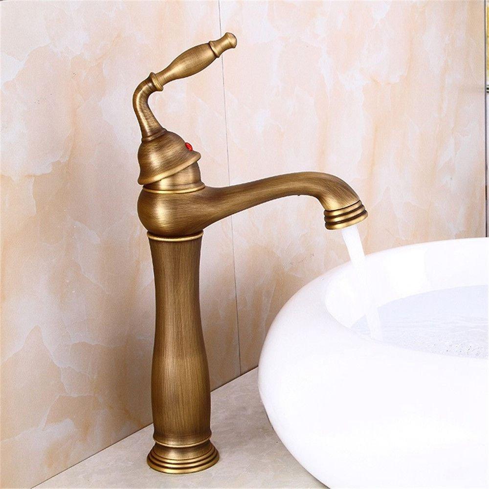 AQiMM Waschtischarmatur Wasserhahn Messing Gold Warmes Und Kaltes Wasser Drehbare Antike  Mischbatterie Waschbeckenarmatur Für Badezimmer Waschbecken