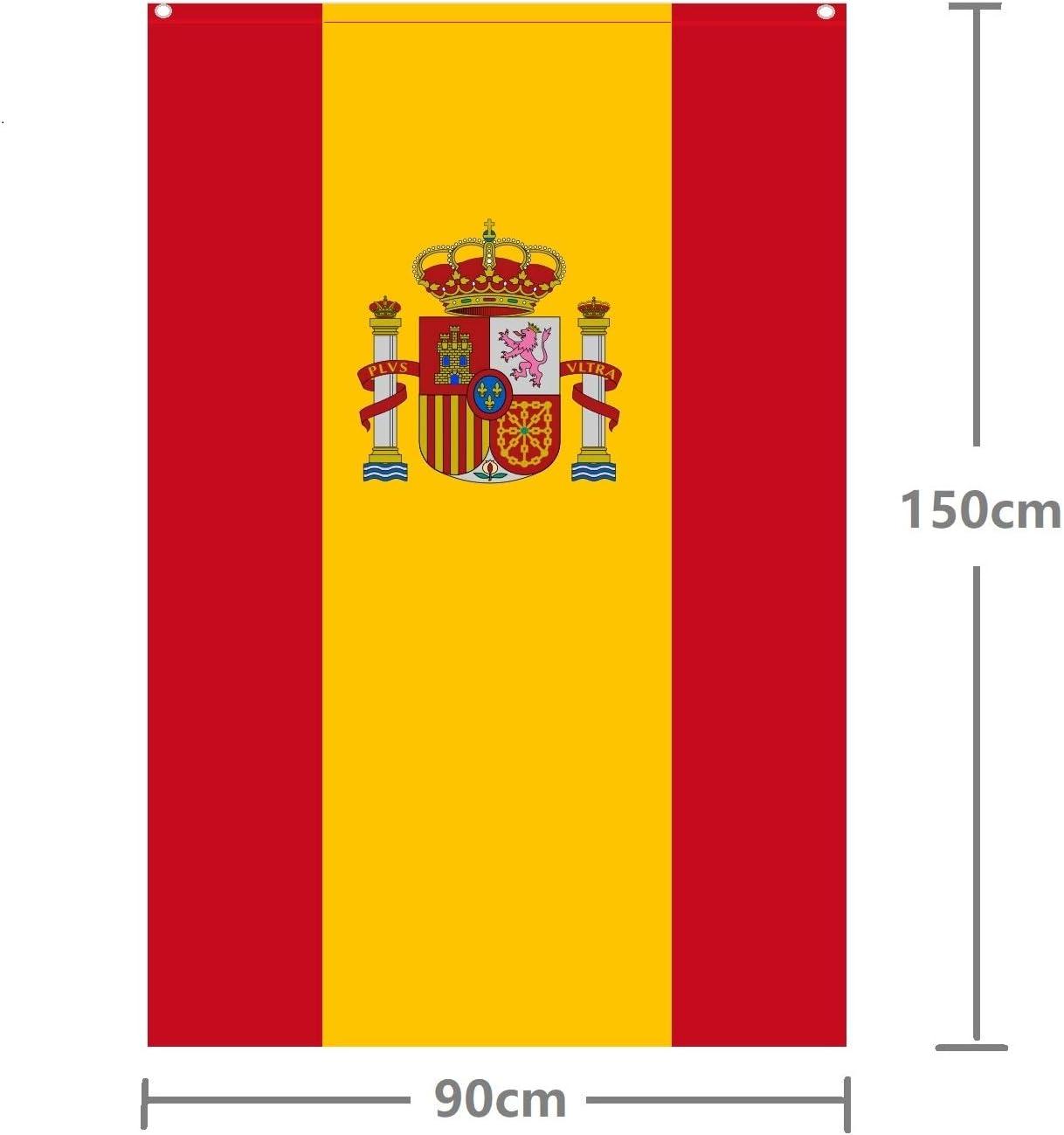 Durabol Bandera de España con Escudo Vertical 150X90 CM Flag Satin 2 Anillas metálicas fijadas en el Dobladillo: Amazon.es: Jardín