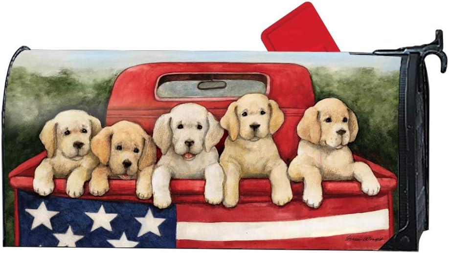 MailWraps Studio M Patriotic Puppies Magnetic Mailbox Cover