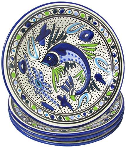 Aqua Fish (Le Souk Ceramique AF39 Stoneware Pasta/Salad Bowls, Set of 4, Aqua Fish)