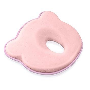 Almohada de espuma de memoria para bebés para prevenir la cabeza plana y la deformación (0-12 meses) rosa rosa