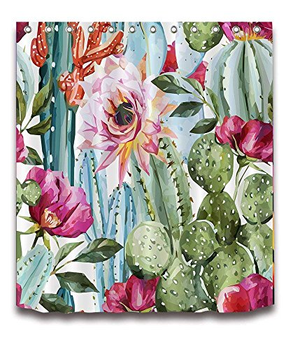 LB Anti Bacterial Waterproof Personality Polyester Fabric Bathroom Shower Curtain 3D Digital Printing Cactus Flowers Customized for Home/Travel/Hotel with Hooks,72x72 inch by LB