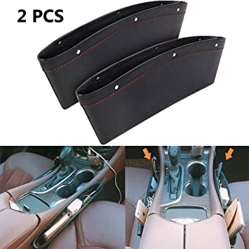 2Pcs Car Seat Crevice Storage Box Premium PU Leather Universal Cupholder Console Side Organizer Pocket Coin Side Pocket(Brown)