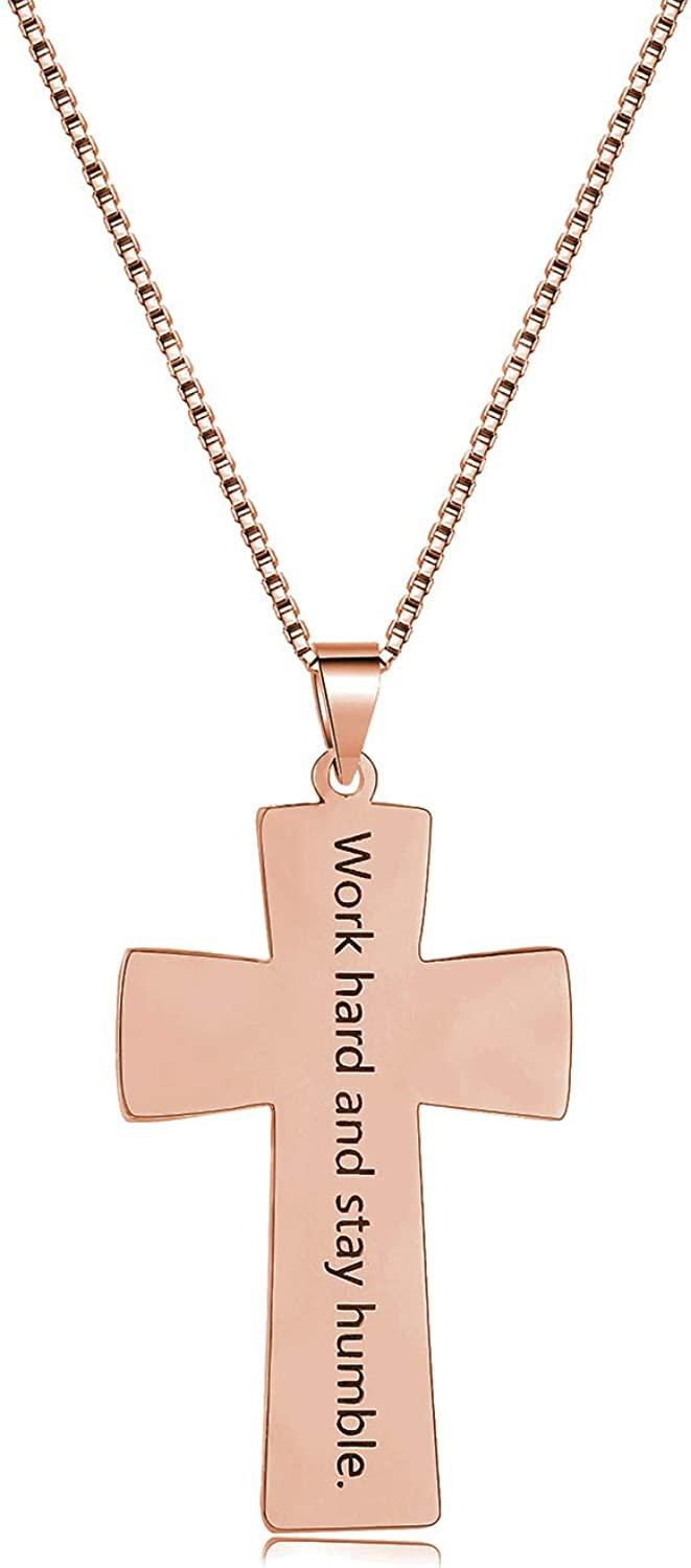 RESVIVI 925 Sterling Silver//Copper Personalized Football Cross Necklace Engraved with Number Necklace for Boys Fathers Men