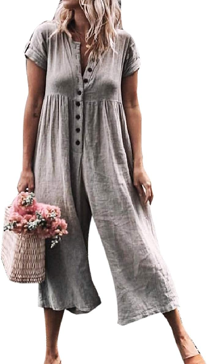Winwinus Women Palazzo Pants Plaid Baggy Style Button Short Sleeves Playsuit
