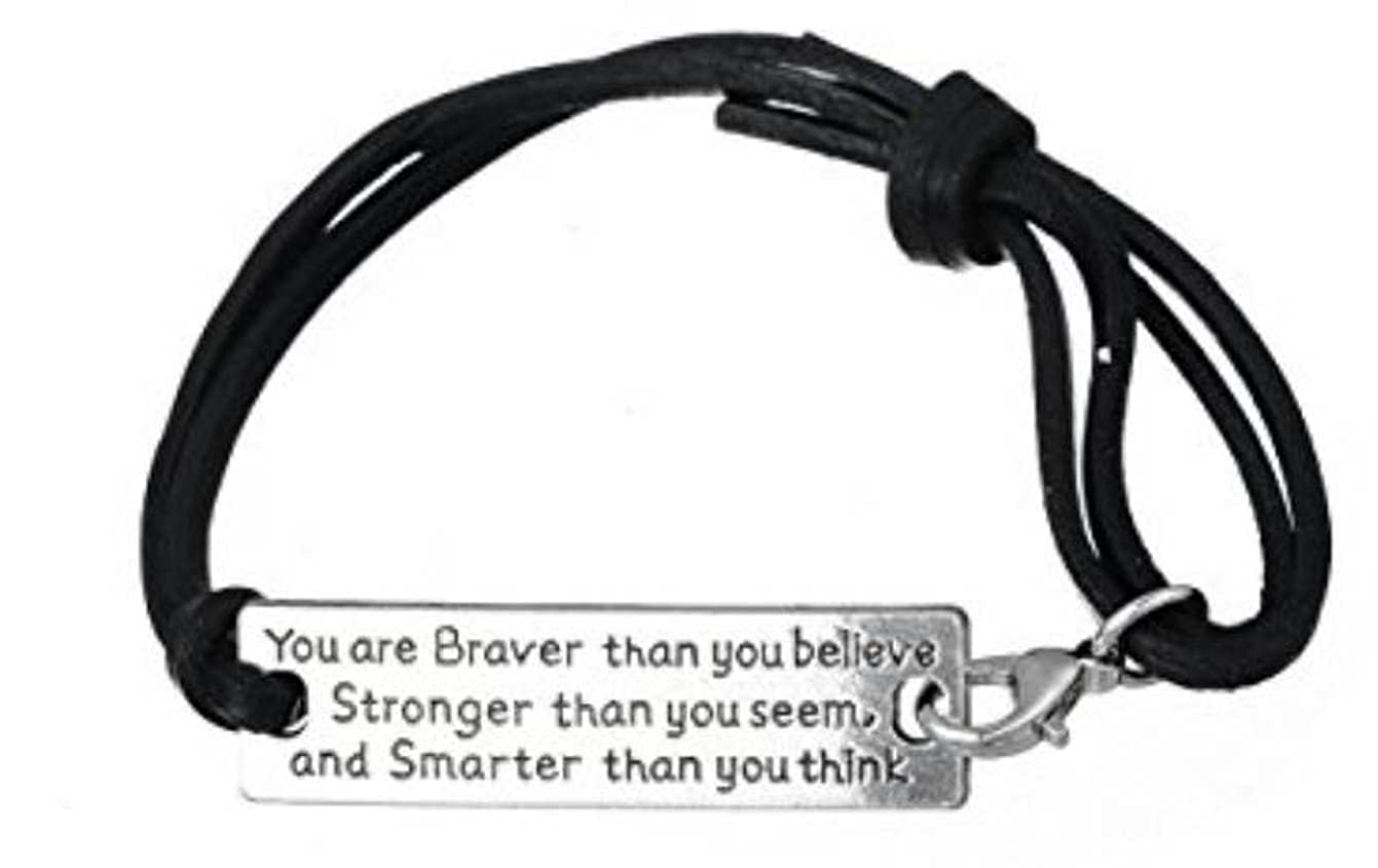 "Inspirational Leather Bracelet Reminder That ""You are Braver Than You Believe, Stronger Than You Seem and Smarter Than You Think""- Perfect Personalized Motivational Mantra Keepsake Jewelry Gift Adorit Adorit-52"