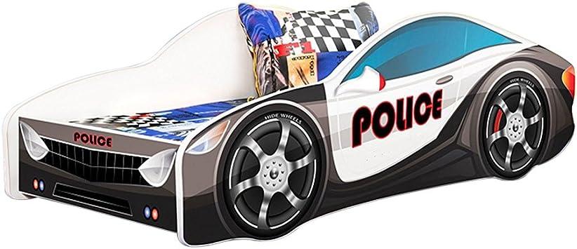 Amazon Com Meble Furniture Rugs Kids Twin Size Platform Bed Frame Cop Police Car Bed Design Black Furniture Decor