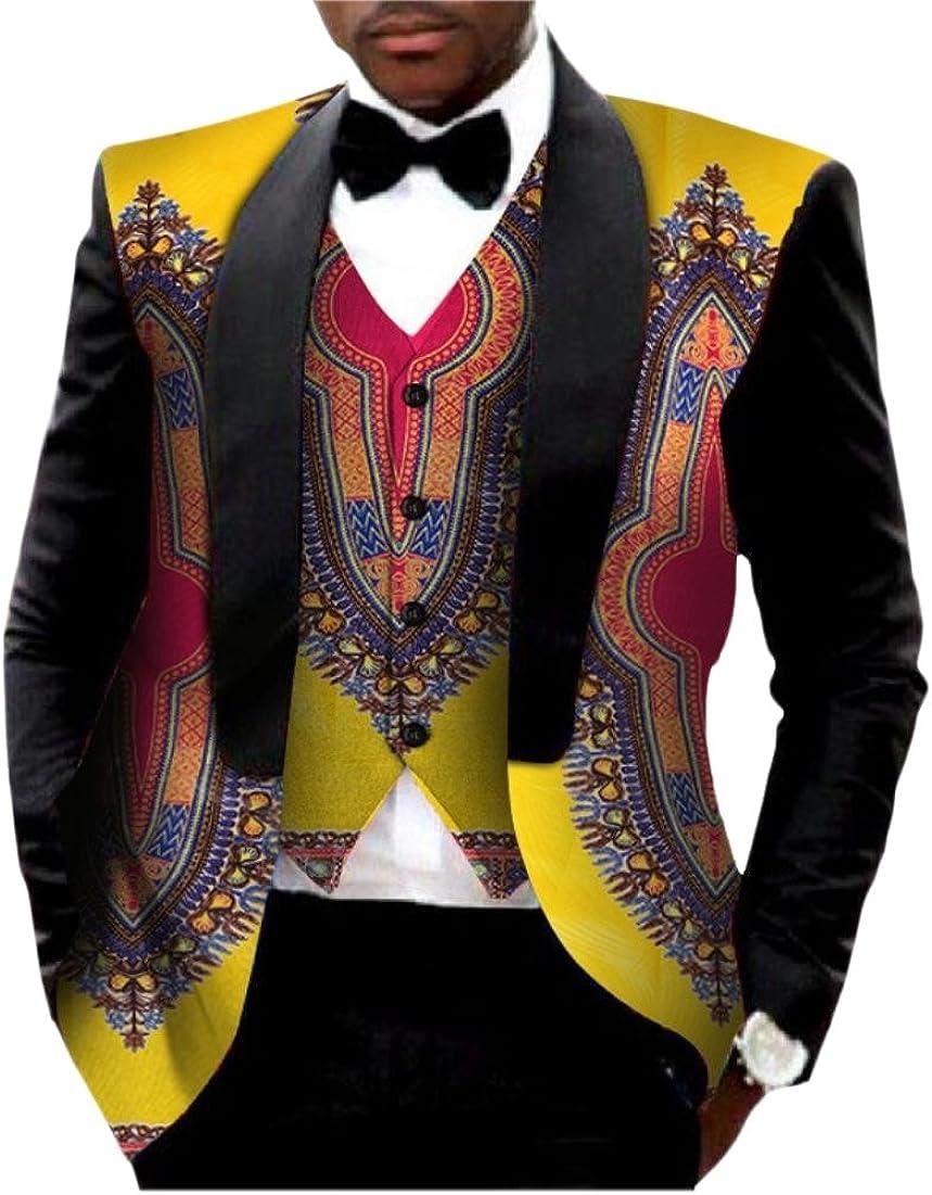 Doufine Men Vest Sweatshirt Dashiki African Print Batik Business Suit