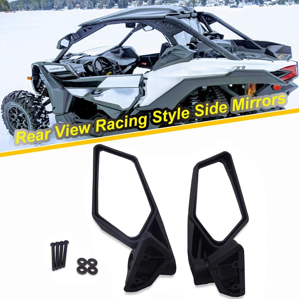 WeiSen Rear View Racing Style Side Mirrors Fit 2017-UP UTV Can-am Maverick X3 /& MAX