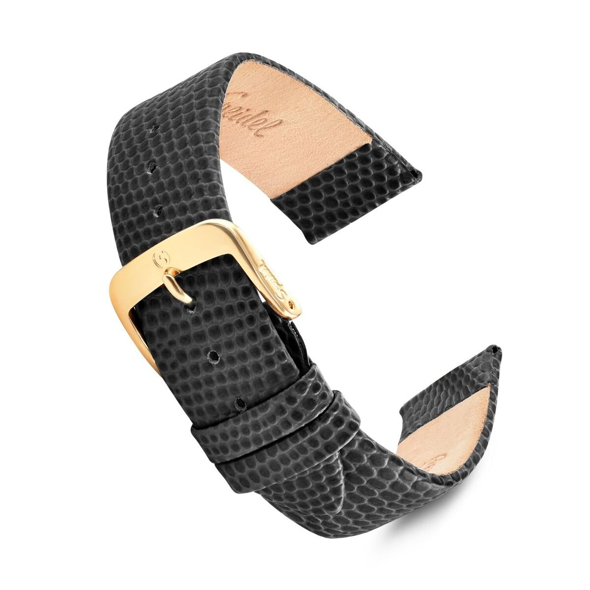 Speidel Genuine Leather Lizard Grain Watch Band 22mm Long Black Replacement Strap, Stainless Steel Metal Buckle Clasp, Watchband Fits Most Watch Brands