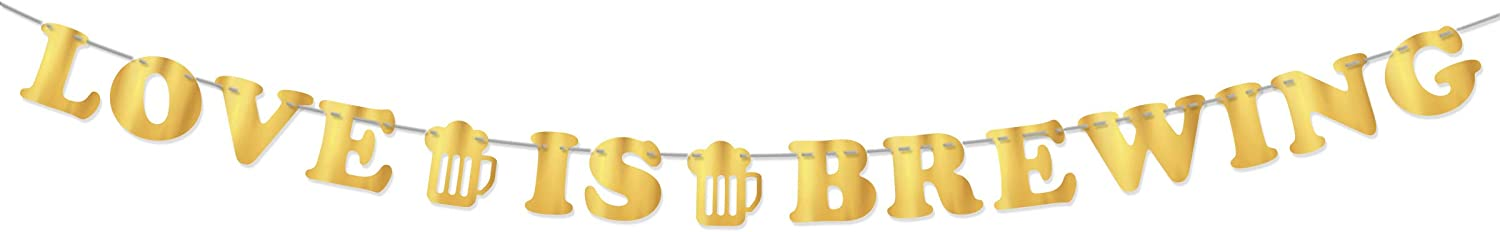 Love Is Brewing Gold Bunting Banner Bridal Shower Part Supplies | Wedding Engagement Love Sign Party Decoration | Beverage Table Sign Party Decoration | Beer Themed Party Decor Kit - 7 Inch
