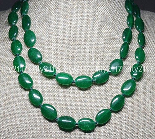 Natural 13x18mm Green Emerald Oval Gemstone Beads Necklace 22'' Green Emerald Bead Necklace