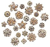 Zakia Lot 24pcs Crystal Flower Bridal Brooch Pin Brooches Rose Gold