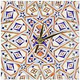 3dRose dc_73582_1 Morocco, Hassan II Mosque Mosaic, Islamic Tile Detail-AF29 KWI0020-Kymri Wilt-Desk Clock, 6 by 6-Inch