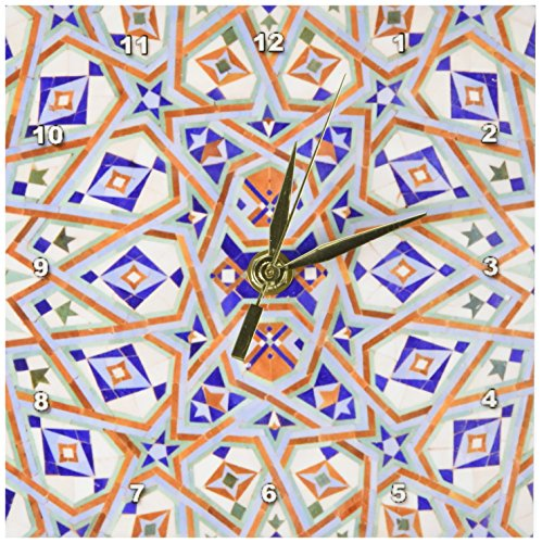 3dRose dc_73582_1 Morocco, Hassan II Mosque Mosaic, Islamic Tile Detail-AF29 KWI0020-Kymri Wilt-Desk Clock, 6 by 6-Inch by 3dRose