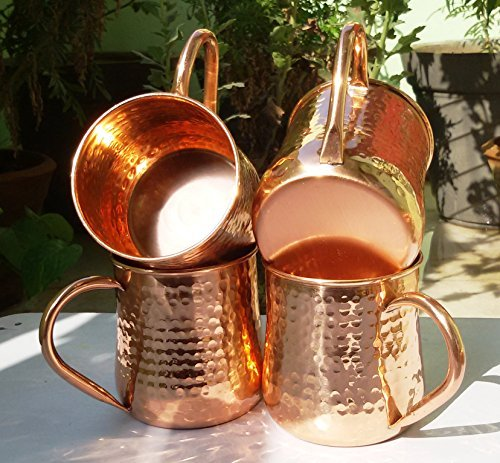 Maithil Art Old Fashion Barrel Copper Moscow Mule Mug Handmade Of 100% Pure Copper, Hammered Moscow Mule Mug/Cup 16 Oz. Set of-4, Hammered Pipe Handle Mug.