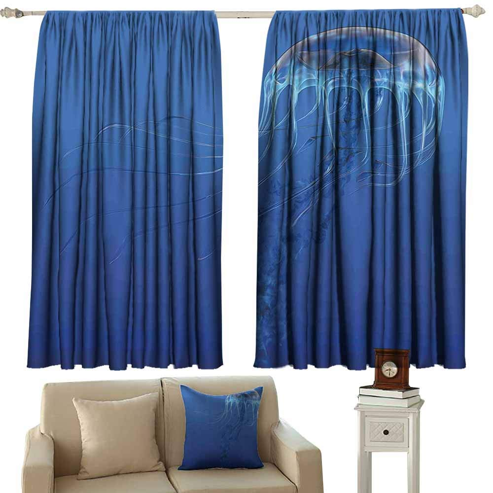 color07 55\ color07 55\ Beihai1Sun Sliding Door Curtain Jellyfish bluee Spotted Jelly Fish Aquarium Life Marine Animals Ocean Predator in Deep Water Aquatic for Patio Front Porch W55x45L Inches bluee