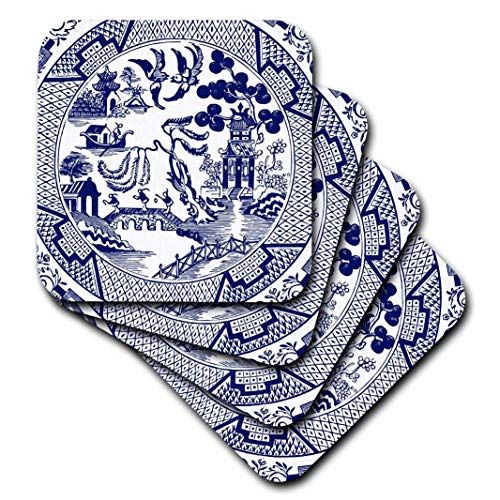 3dRose cst_262242_3 Willow Pattern Detail in Blue and White set of 4 Ceramic Tile Coasters
