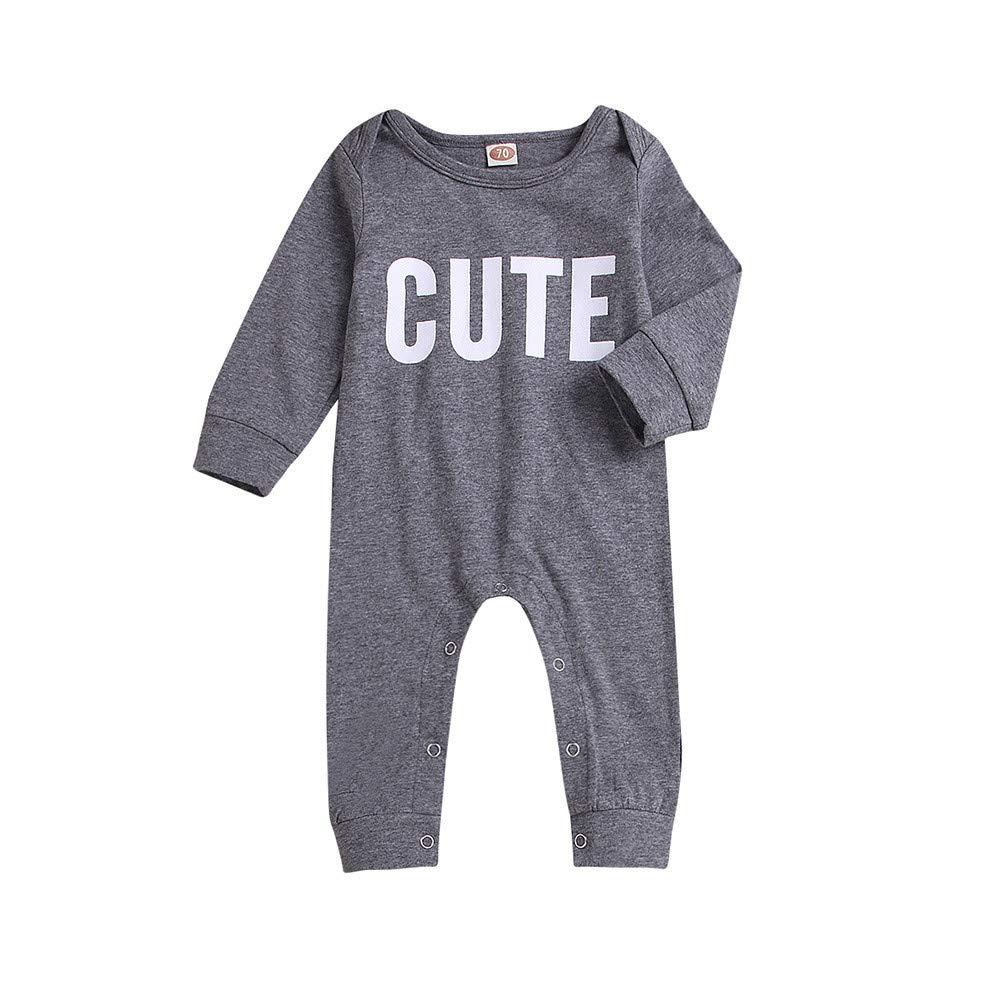 bauycy Ha Yi Strampler Baby langä rmeligen Brief Drucken Roben Strampler Overall Rundhals Mode lä ssig Pyjamas Overall