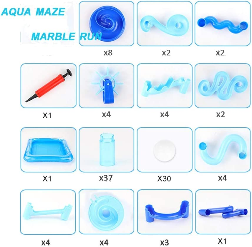 STEM Educational Learning Toy Construction Building Blocks for Kids 3 4 5 6 7+Years Old Boys and Girls 107 Pcs Aqua Maze Twist The Water Marble Run Maze Race Track Game Set EPCHOO Marble Runs