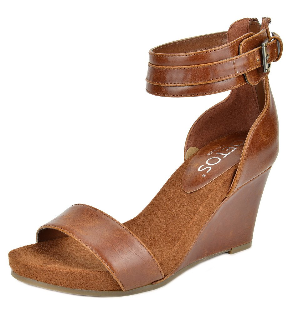 5866a471e2b6 Galleon - TOETOS Women s Solsoft-5 Tan Mid Heel Platform Wedges Sandals - 8.5  M US