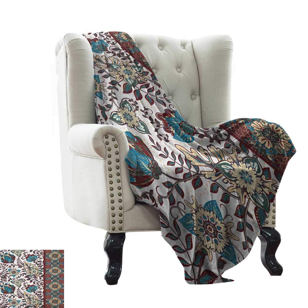 color06 60 x78  Inch Down Blanket Arabian,Illustration of Old Eastern Arabesque Ethnic Antique Oriental Damask Round Motif, Multicolor Weighted for Adults Kids, Better Deeper Sleep 50 x60